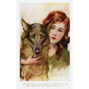 Young Girl With Alsatian Dog Poster Print By Mary Evans Picture LibraryPeter & Dawn Cope Collection