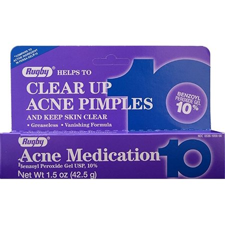 Rugby Acne Medication Gel Benzoyl Peroxide 10% 1.5 oz