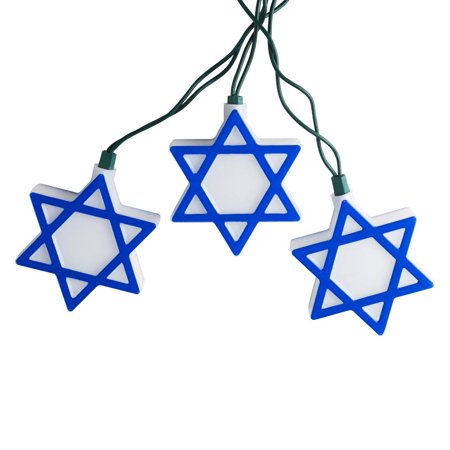 Star Of David Christmas (Set of 10 Blue and White Hanukkah Star of David Novelty Christmas Lights - 10 ft Green Wire)