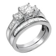 devuggo 201carat tcw three stone princess cut cz 925 sterling silver wedding rings bridal set - Silver Wedding Rings