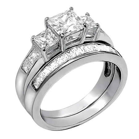 Cut Bridal Ring Set (2.01Carat TCW Three Stone Princess Cut CZ 925 Sterling Silver Wedding Rings Bridal Set)