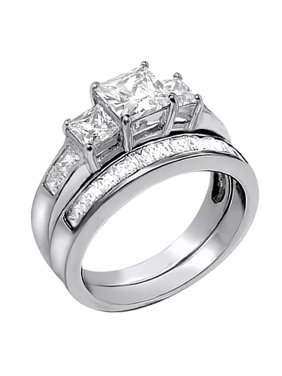 Devuggo 2 01carat Tcw Three Stone Princess Cut Cz 925 Sterling Silver Wedding Rings Bridal Set