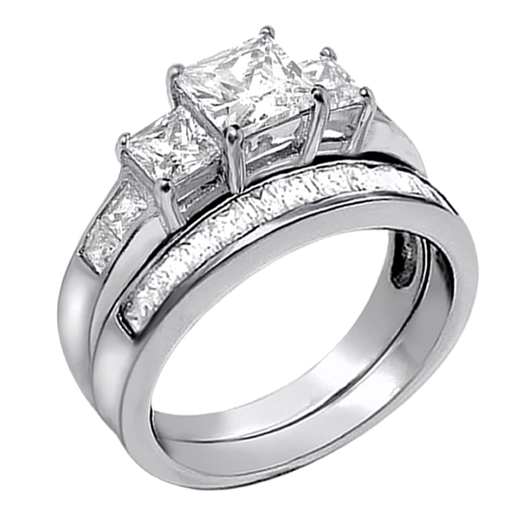CZ Diamond Wedding Ring Sterling Silver Band Solitaire Guard Engagement Anniversary Size 6 Bridal gifts for her