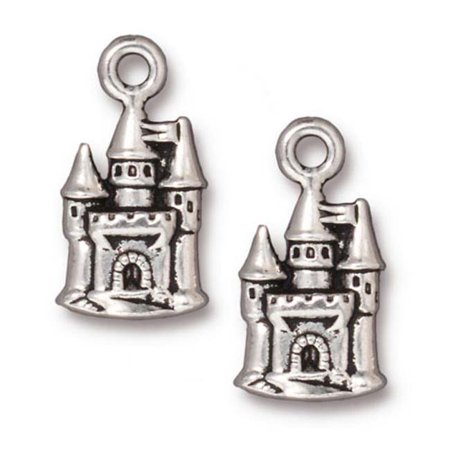 Fine Silver Plated Pewter Fairy Castle Charm 21mm (1)