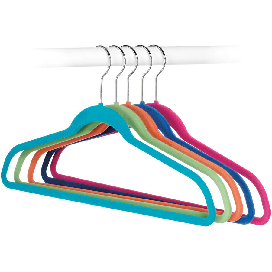 Whitmor 6784-1621-5 Flocked Suit Hangers, Assorted Colors, 5 Count