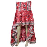 Mogul Womens High Low Skirt Recycled Sari Full Flare Twirling Ruffle Vintage Belly Dance Skirts
