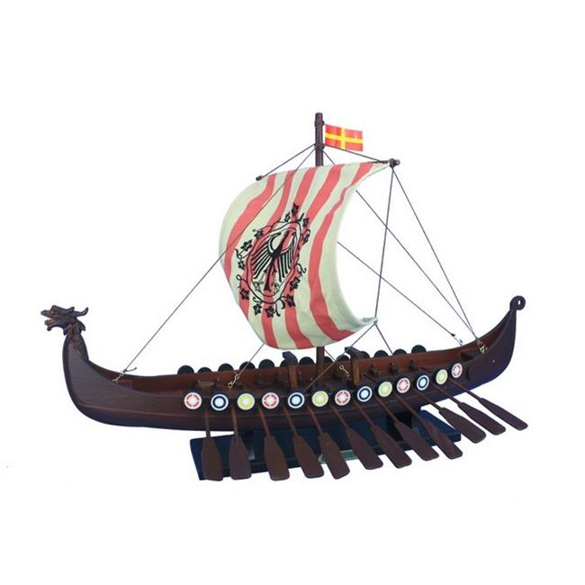 Handcrafted Decor viking-24-raven Wooden Viking Drakkar with Embroidered Raven Limited Model Boat, 24 in. by Handcrafted Decor