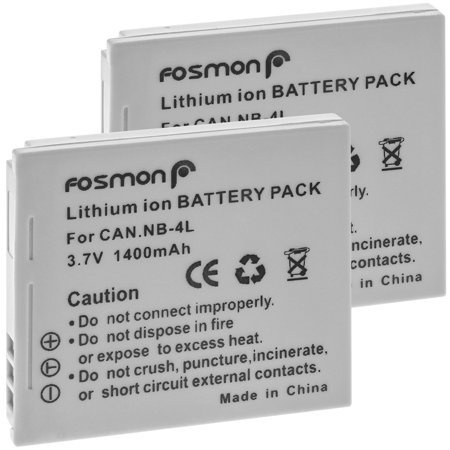 Fosmon (2-Pack) NB-4L Battery 1400mAh, Extended Life Replacement Battery Pack for Canon PowerShot SD40, SD30, SD200, SD300, SD400, SD430, SD450, SD600, SD630, SD750, SD780 IS, SD940 IS, SD960 IS, SD10