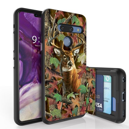 LG G8 ThinQ Case, PimpCase Slim Wallet Case + Dual Layer Card Holder Designed For LG G8 ThinQ (Released 2019) Deer Outdoors Hunting