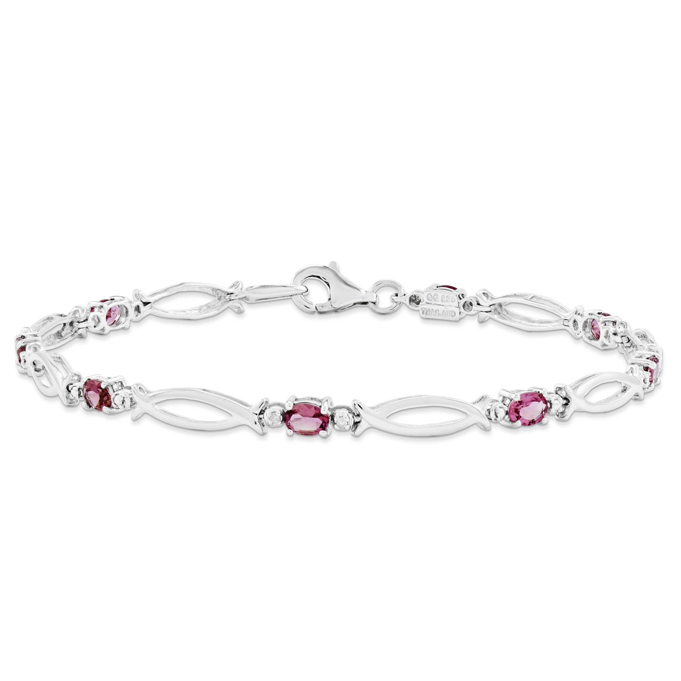 "925 Sterling Silver 3mm Pink Tourmaline and Diamond Gemstone Bracelet 7"" by Fusion Collections"