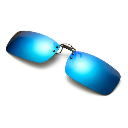 Light Up Sunglasses Bulk (Newbee Fashion - Polarized Clip-On Flip Up Metal Clip Sunglasses Multi Purpose Flash Polarized Lenses (Glasses not)