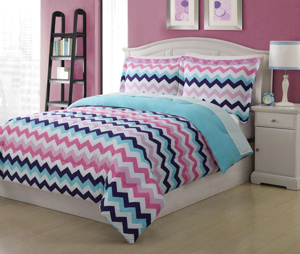chevron full comforter dp home kitchen teal set amazon piece com