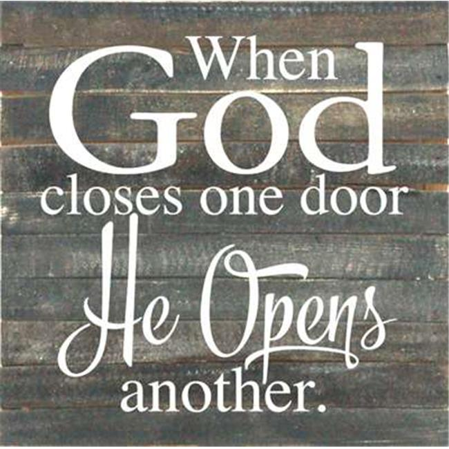 Artistic Reflections RE1002b 14.5 x 14.5 in. When God Closes One Door Pallet Wood Art Sign - image 1 of 1