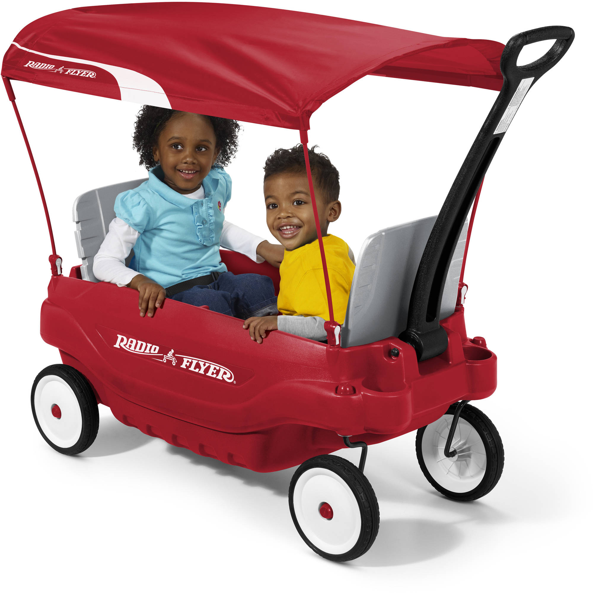 Radio Flyer Deluxe Family Wagon With Canopy Folding Seats