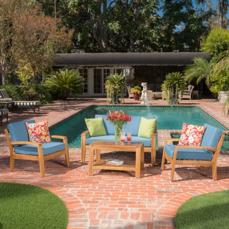 Europa 4 Piece Outdoor Wooden Chat Set with Cushions, Teak Finish, Blue ()
