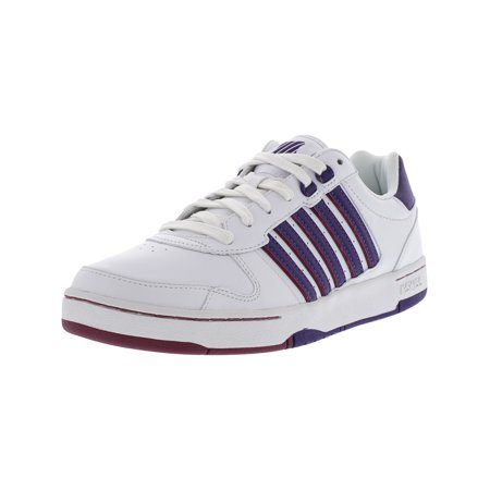 K-Swiss Women's Jackson White / Parachute Purple Beet Red Ankle-High Leather Fashion Sneaker - 10M