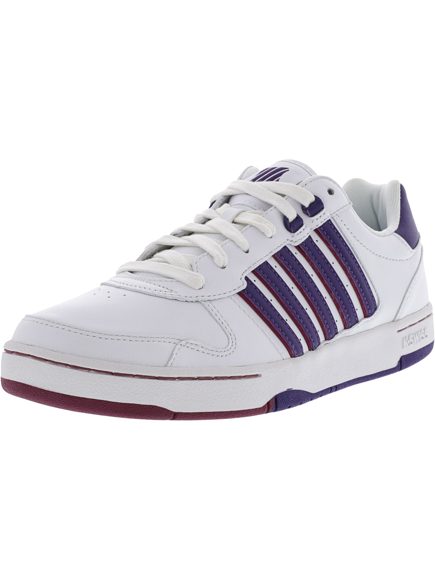 K-Swiss Women's Jackson White / Parachute Purple Beet Red Ankle-High Leather Fashion Sneaker - 10M