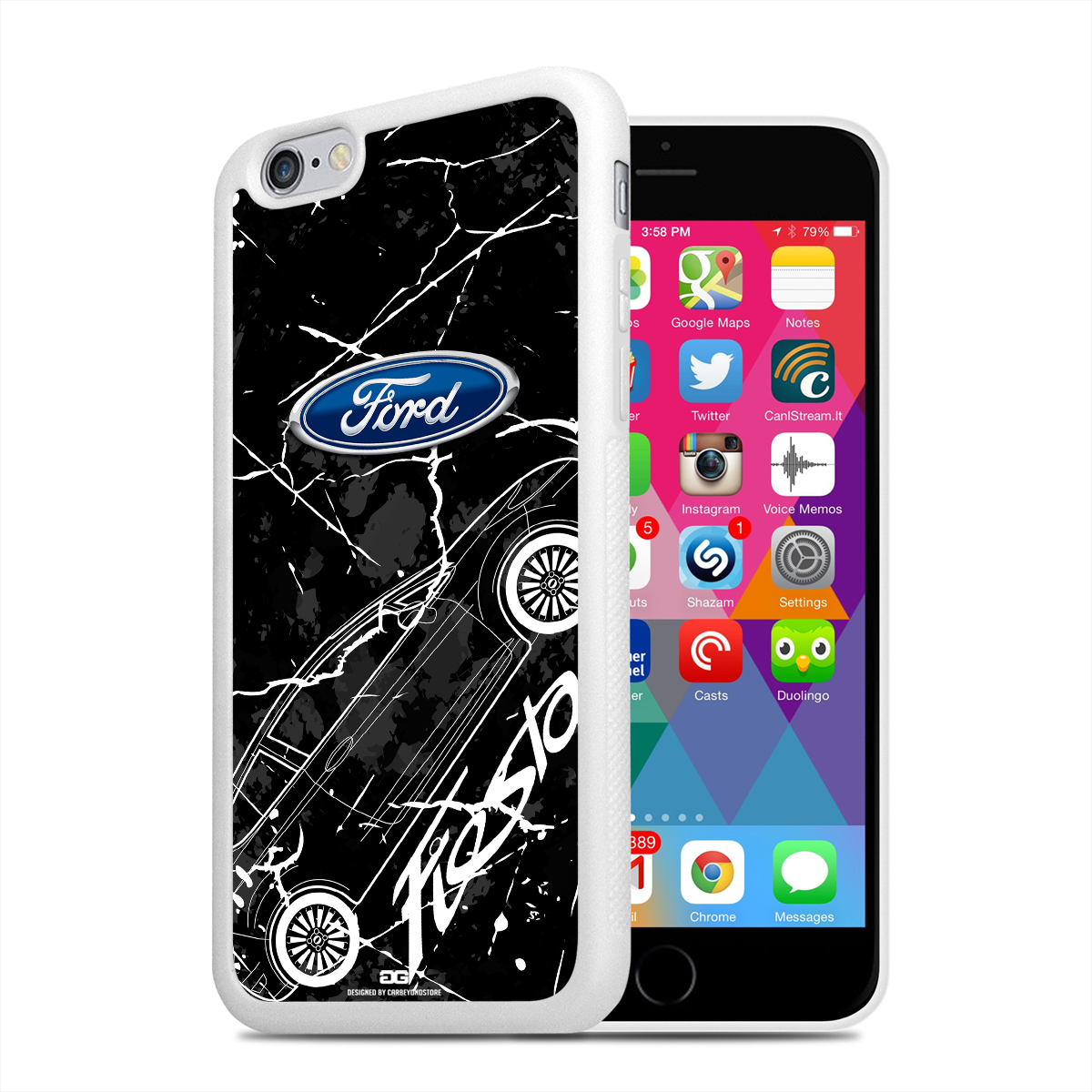 Ford Fiesta Weathered Graphics iPhone 6 White TPU Rubber Cell Phone Case