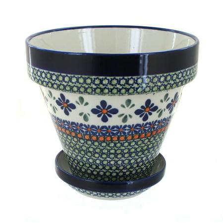 Polish Pottery Mosaic Flower Medium Flower Pot