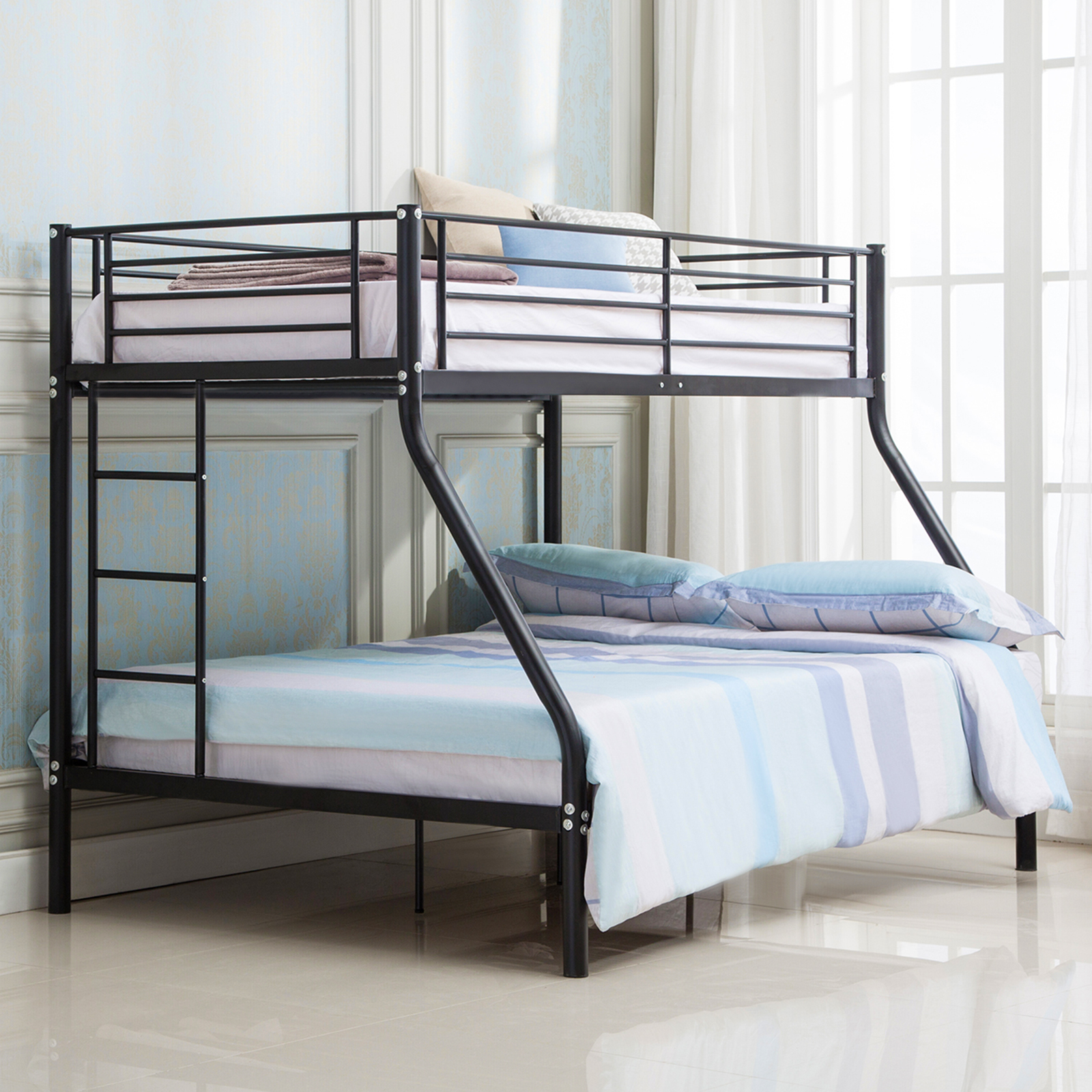 Bunk Beds Frame Metal Twin over Full Ladder Kids Teens Adult Dorm Bedroom Black Mecor