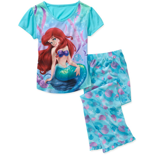 Disney Ariel Girls' 2 Piece Short Sleeve and Pants Pajama Set