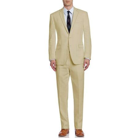DTI BB Signature Italian Men's Suit Linen Two Button Jacket 2 Piece Modern Fit Banana Cream