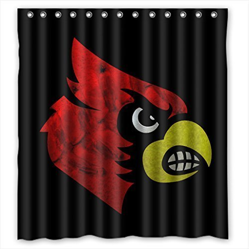 DEYOU Louisville Cardinals Shower Curtain Polyester Fabric Bathroom Shower Curtain Size 66x72 inches