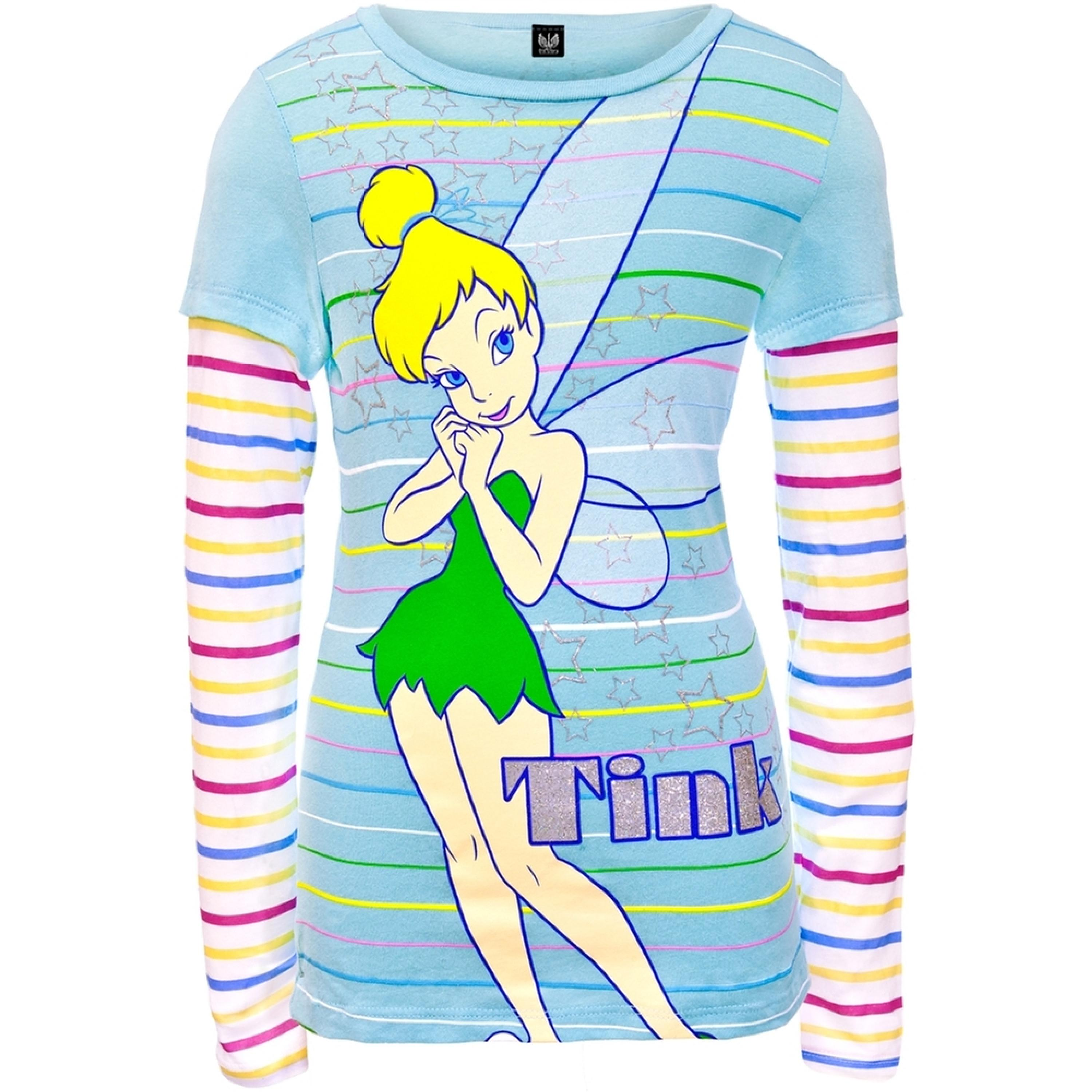 Tinkerbell - Stripe Stars Girls Youth 2fer Long Sleeve T-Shirt