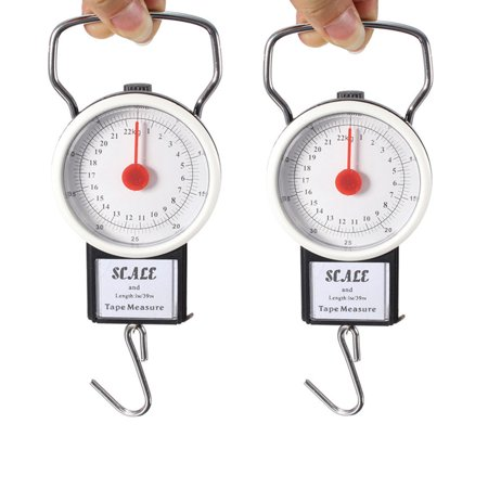 Portable Digital Hanging Scale Hook Mechanical Kitchen and Fishing Scale Multi-Purpose Portable Hand Held Dial Weight Scale with Tape Measure (50 Lbs / 22Kg)