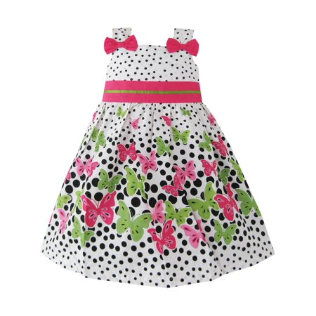 Girls Dress Butterfly Print Dot Green Party Child Clothing - Butterfly Dress Kids