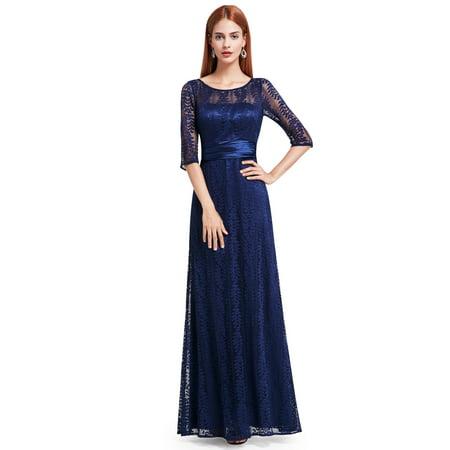 Ever-Pretty Women\'s Elegant Lace Long Sleeve Summer Wedding Guest  Bridesmaid Maxi Dresses 08878 for Women Navy Blue 16 US Plus Size