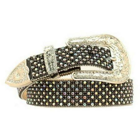 Nocona Western Belt Womens Mesh AB Crystal Bling Black Silver N3494001