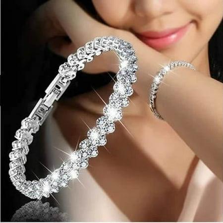 Crystal Bridal Jewelry (Luxury Vintage Bracelet Single Crystal Silver Bangle for Bridal Wedding Jewelry Gift )