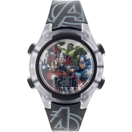 Boy's Black and White Flashing Lights LCD Watch