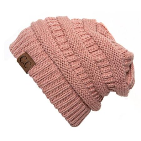 India Pink Thick Slouchy Knit Oversized Beanie Cap Hat - Walmart.com 79acf618f97