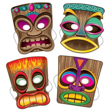 Club Pack of 12 Assorted Hawaiian Luau Tiki Novelty Masks with Elastic