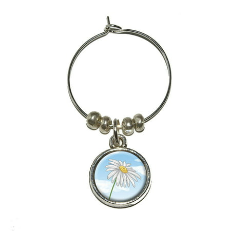 Flower Wine Glass Charms (White Daisy on Blue Sky - Flower Wine Glass Charm)