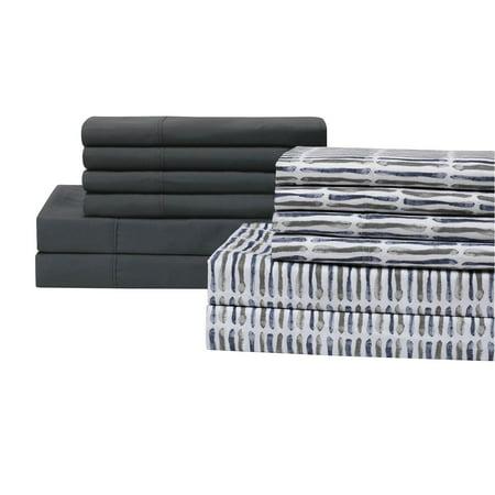 Brooklyn Loom 12 Piece Cal King Sheet Sets In Slide Stripe Slate