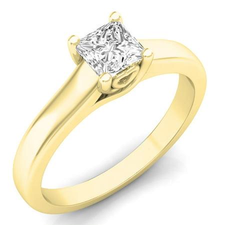 0.50 Carat (ctw) 10k Yellow Gold Princess Cut White Diamond Ladies Lucida Setting Solitaire Bridal Engagement Ring 1/2 C