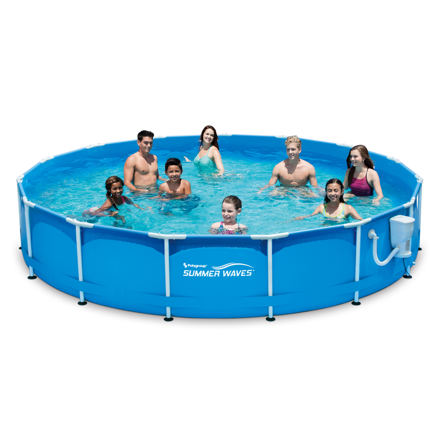 "Summer Waves 15' x 33"" Metal Frame Pool Above Ground Swimming Pool with Filter Pump System"