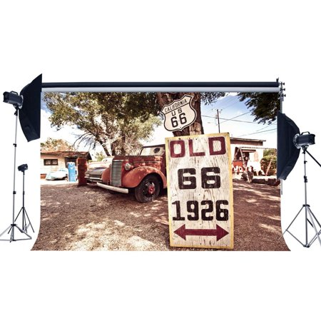 ABPHOTO Polyester 7x5ft Old Route 66 Backdrop California West Cowboy Backdrops Vintage Old Car Grocery Store Rustic Wood Road Sign Photography Background for Kids Adults Tourism Photo Studio (West Road Mall Stores)