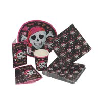 Pink Pirate Girl Tableware/Invites(40Pc) - Party Supplies - 40 Pieces