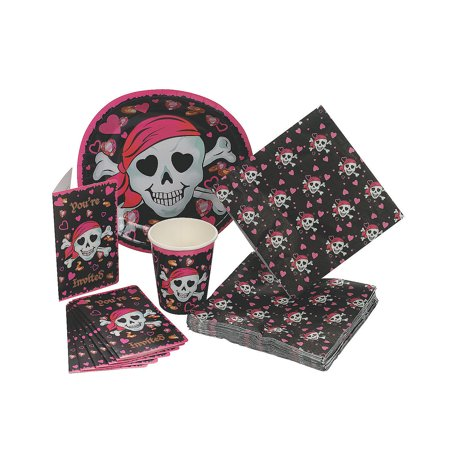 Fun Express - Pink Pirate Girl Tableware/invites(40pc) for Birthday - Party Supplies - Party Packs Adult & Family - Party Packs - Birthday - 40 Pieces - Pirate Birthday Party