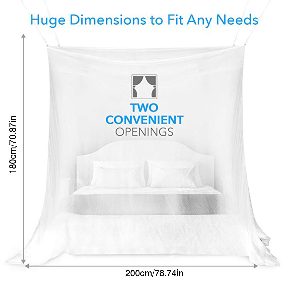 Indoor and Outdoor Use Easy Installation /& Storage Bag Large Mosquito Net for Bed Canopy Tent Square Netting Curtain for Camping Finest Holes Mesh 300 Screen House