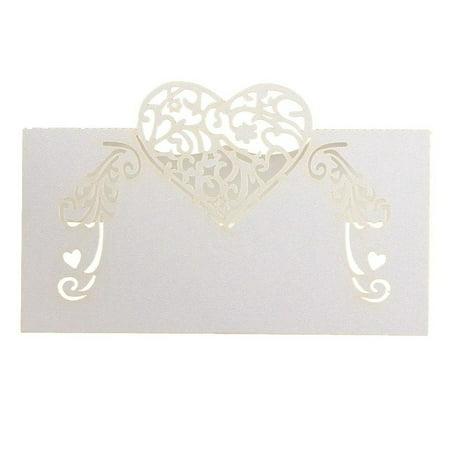 50pcs Laser Cut Heart Shape Table Name Card Place Card Wedding Party Decoration Favor (White) - Wedding Table Favors