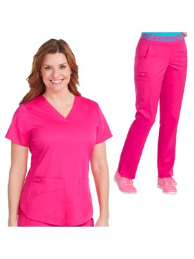 Med Couture NEW TOUCH Women's V-Neck Shirttail Scrub Top & Yoga 2 Cargo Pocket Scrub Pant Set [XS - 5XL, FREE SHIPPING]