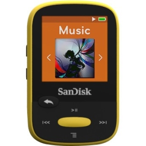 "SanDisk Clip Sport SDMX24-004G 4 GB Flash MP3 Player - Yellow - FM Tuner - 1.4"" LCD - microSDHC - MP3, WMA, AAC, Ogg Vor"