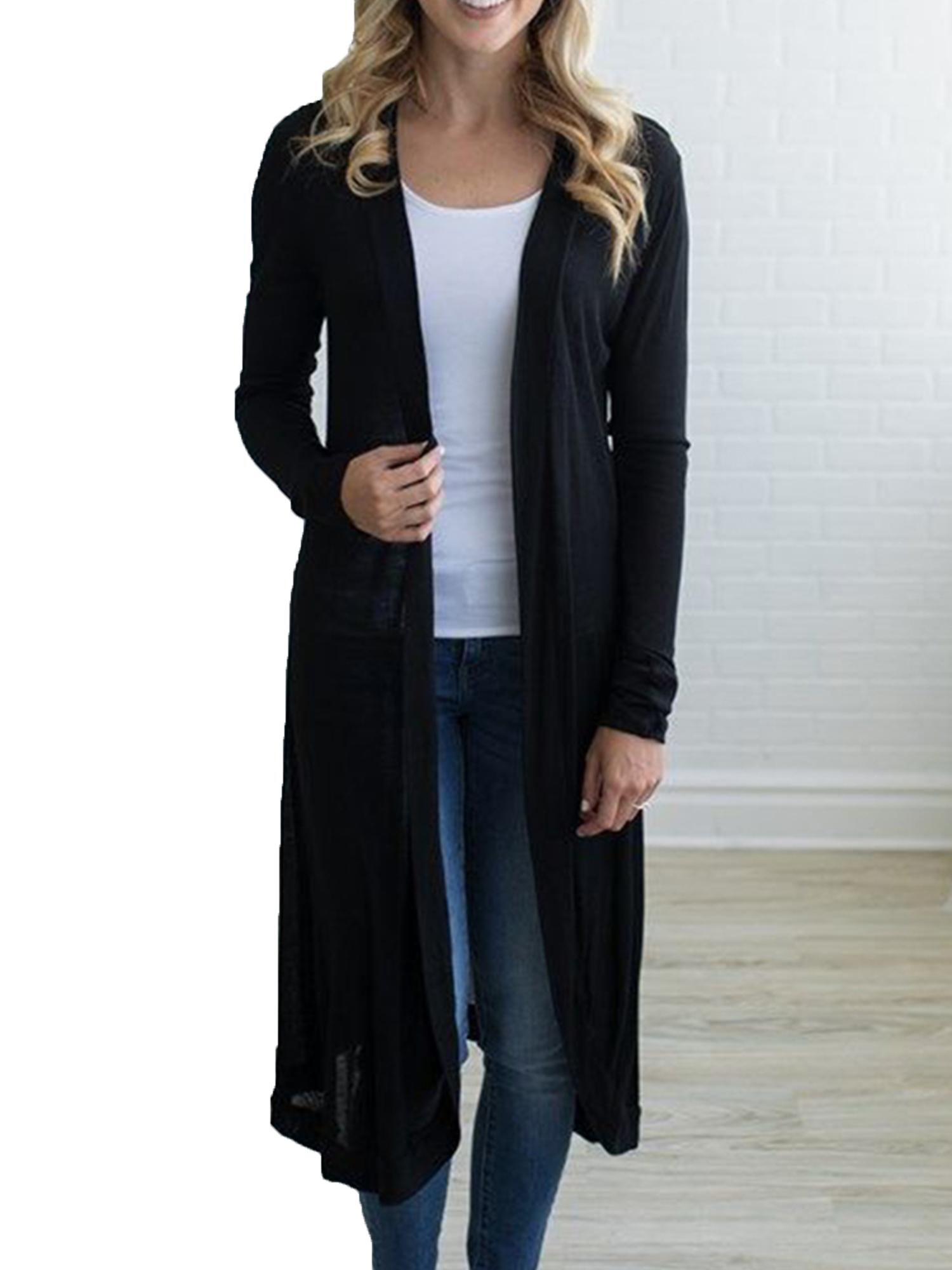 Women Long Sleeve Cardigan Trench Coat Open Front Jacket Overcoat Casual Outwear