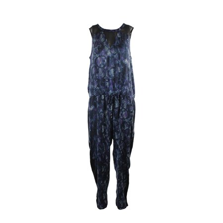 Rachel Rachel Roy Blue Sleeveless Mesh-Paneled Printed Jumpsuit  XXL - Blue Jumpsuit