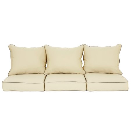 Humble and Haute Sawyer Canvas Antique Beige with Charcoal Cording Indoor/ Outdoor Pillow and Cushion 6 piece Sofa Set